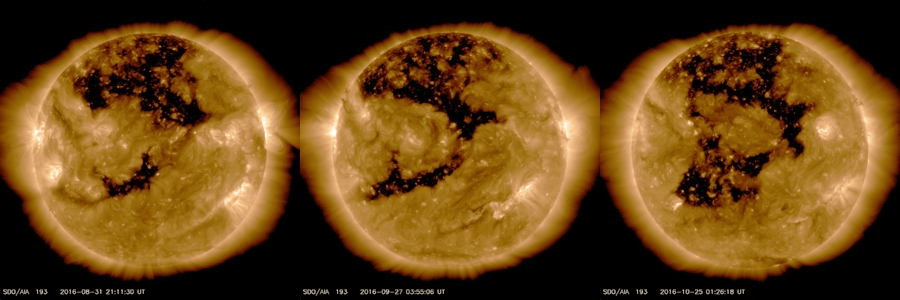 Image of the Sun from the Solar Dynamic Observatory showing the extent of the coronal hole on the last three rotations. (SDO/NASA)