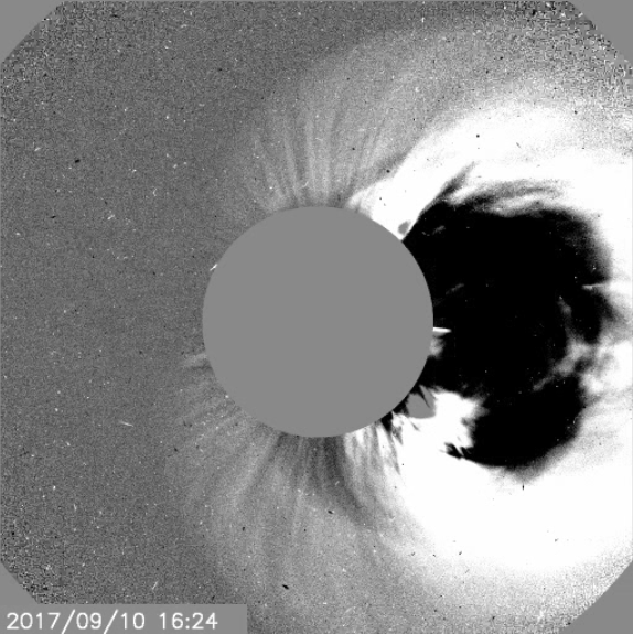 Coronagraph image showing the CME on 10th Sep