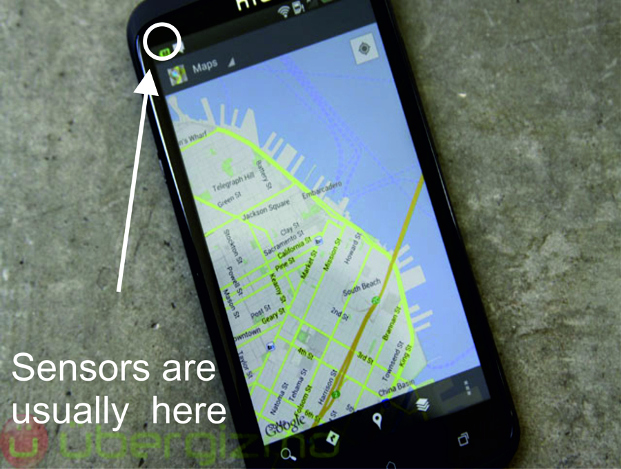 Magnetic and gravity field sensors located within your phone.