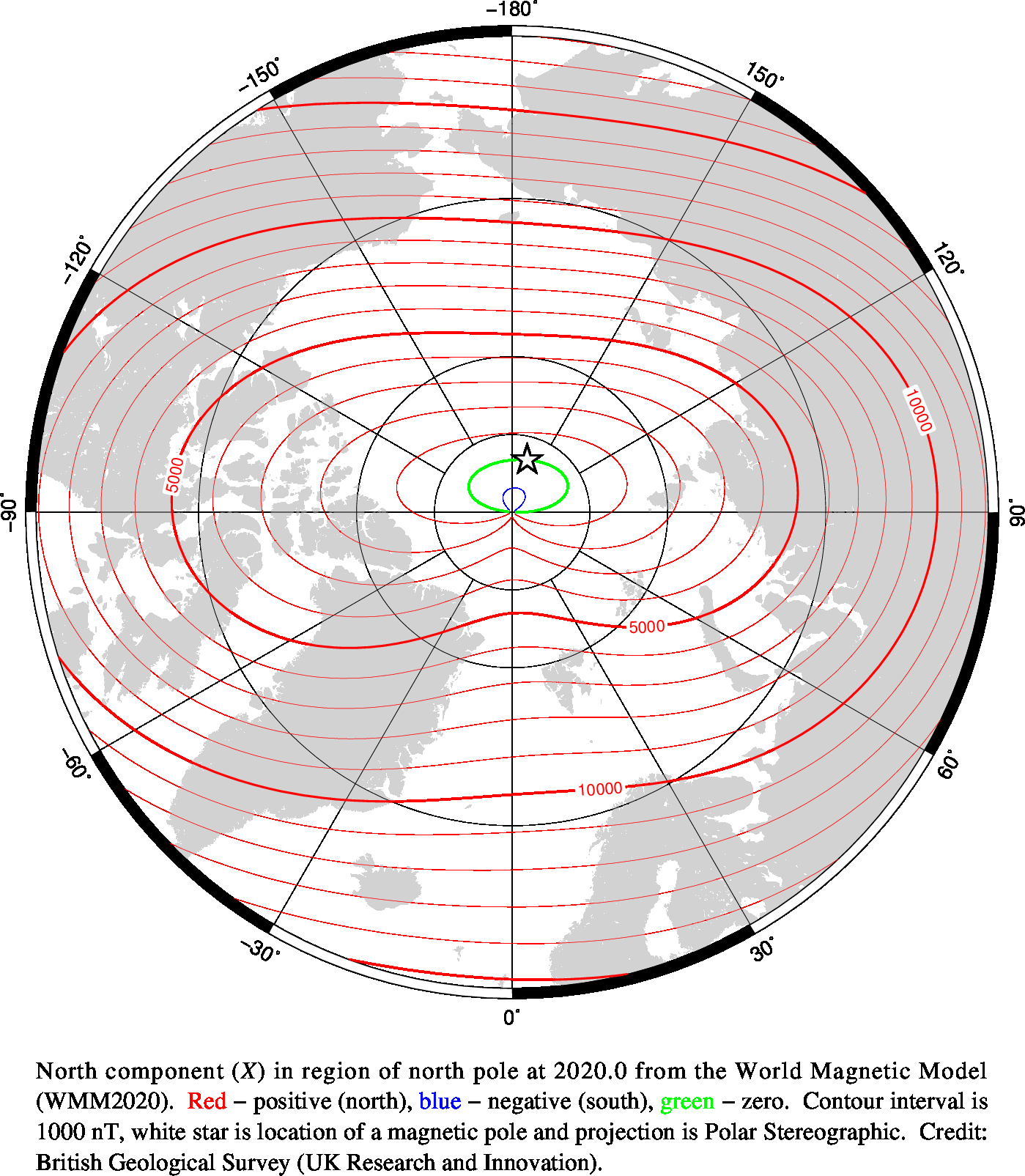 Magnetic chart showing North Component
