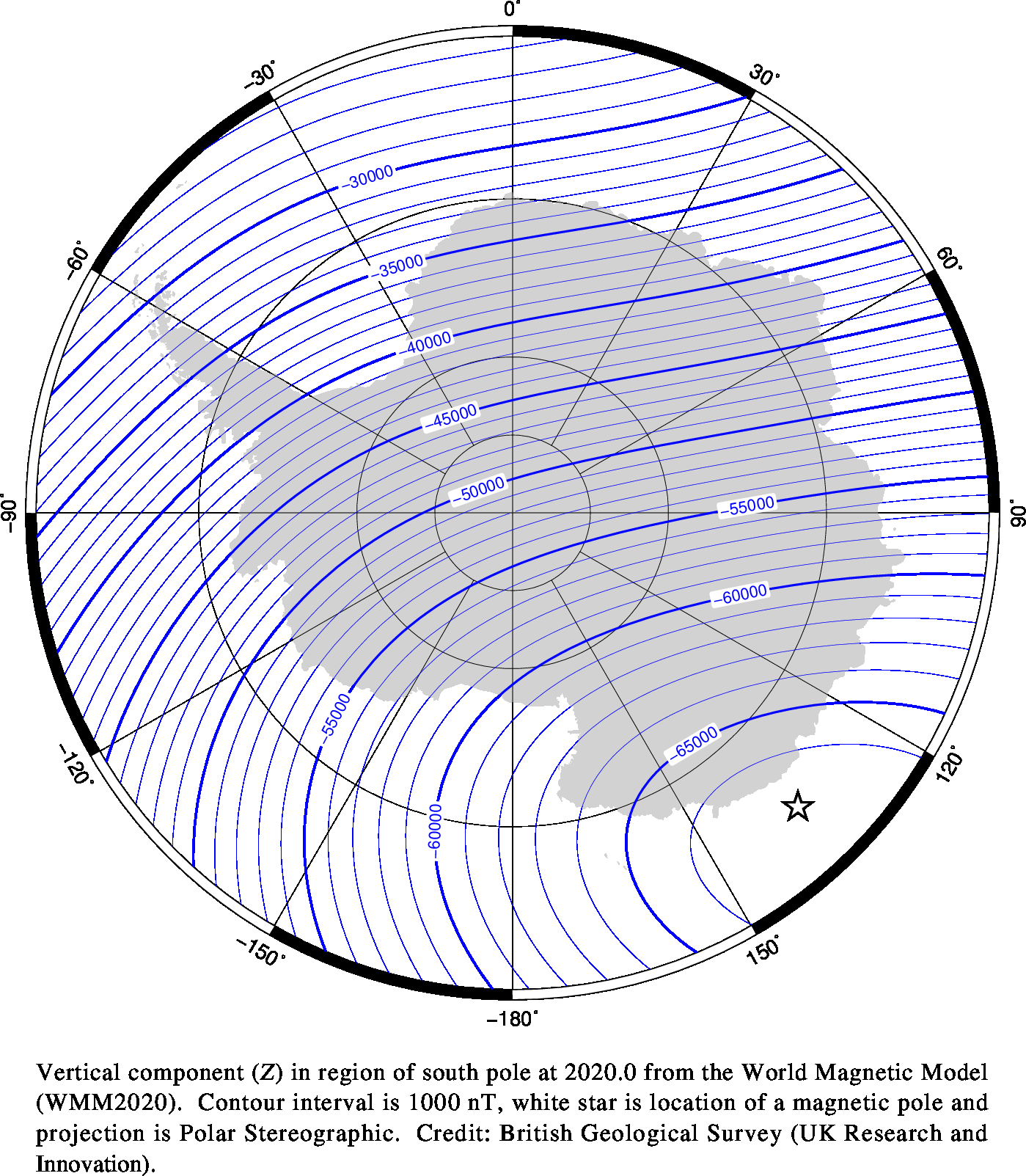 Magnetic chart showing Vertical Intensity