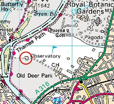 Map of Kew Observatory Location