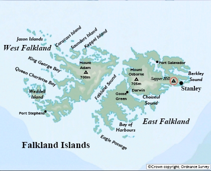 Map of the Falkland Islands