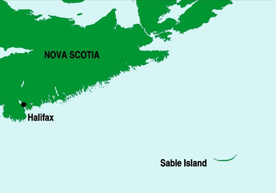 Map of location of Sable Island
