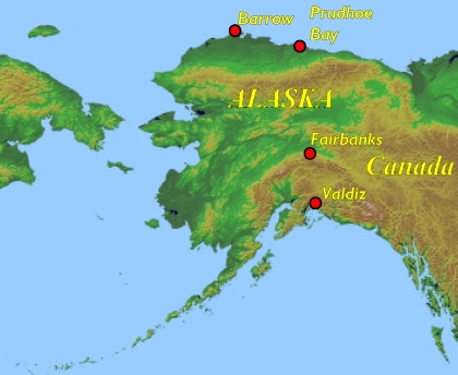Map of Alaska showing location of Prudhoe Bay